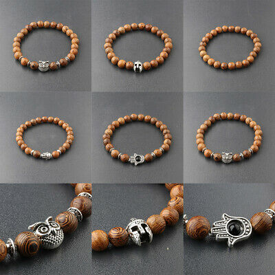 Fashion Men's Women 8MM Multilayer Wooden Beaded Elasticity Charm Bracelets