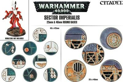 Sector Imperialis 25mm und 40mm Round Bases (60 Bases) + Schädel Games Workshop