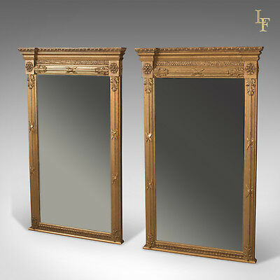 Pair of Regency Revival Pier Mirrors, Top Quality, Late C20th, Wall, Hall