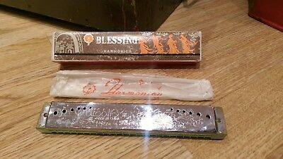 Vintage Blessing Harmonica In Original Box Great Example Made In China