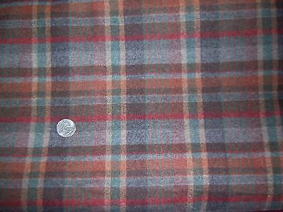 Vtg Pure Wool Fabric Material Tartan Plaid Check Charcoal Soft Gray Red 2 1/2 Y