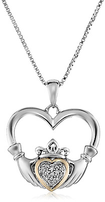 Sterling Silver and 14K Yellow Gold Diamond Claddagh Heart Pendant Necklace, 18""