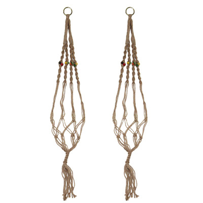 LJY 2-Pack Plant Hanger Macrame Jute 4-Leg for Indoor Outdoor Balcony Ceiling Pa