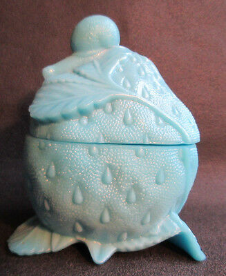 RARE French box blue milk glass, signed PORTIEUX: Snail on a Strawberry