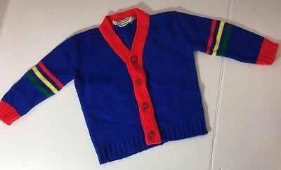 Vintage Baby Sweater Robinit May Knitting Company Blue Red Yellow Green
