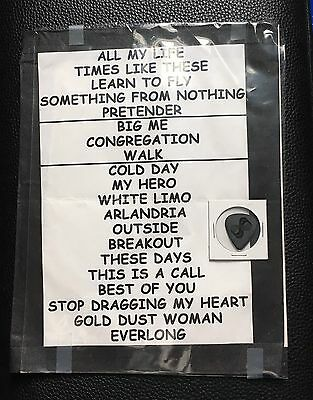 Foo Fighters - 2014 Tour Setlist & Stage-Used Dave Grohl Guitar Pick
