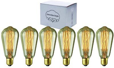 Edison light Bulbs 60W Dimmable Vintage Incandescent E26 E27 ST64 6 pack