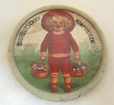 Antique Celluliod Advertising Mirror German Girl in Red w Baskets Fruit D1