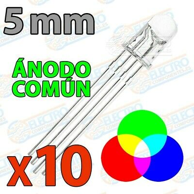 LED RGB 5mm Ultra Brillo 60mA 4 pines Anodo comun - Lote 10 unidades - Arduino E