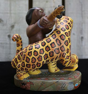 Alebrije Warrior vs Jaguar Pre-Columbian Theme Hand Made Oaxaca Mexcio Folk Art