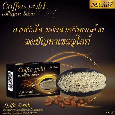 1 x COFFEE+GOLD COLLAGEN BODY SOAP REDUCE CELLULITE SMOOTHING  LUFFA SCRUB SOAP