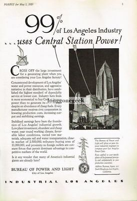 1929 Los Angeles Bureau Of Power and Light Vtg Print Ad