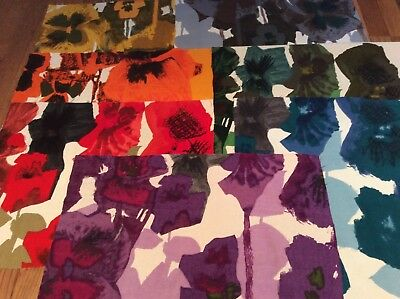 "Howard Carter Pansies vintage Heals fabric mix'n'match from 6 colourways 16""x21"""