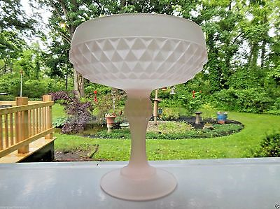 Indiana Glass Pink Frosted Diamond Point Compote