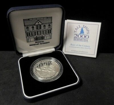 2000 Bermuda Tall Ships Proof Silver $1 - Original Box - ENN COINS