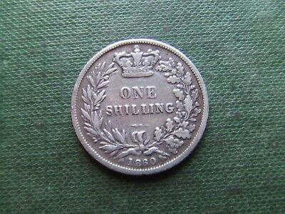 Queen Victoria.  1860, Silver Shilling.  Scarce.   Nice Condition.