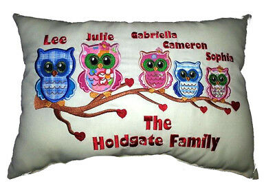 Personalised Embroidery Owl Family Tree cushion. Change text/colours/names