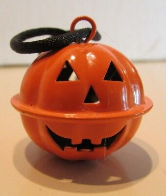 "Halloween Jack-O-Lantern bell necklace on 24"" cord"