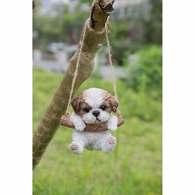 Hanging SHIH TZU Puppy Dog - Life Like Figurine Statue Home Garden NEW