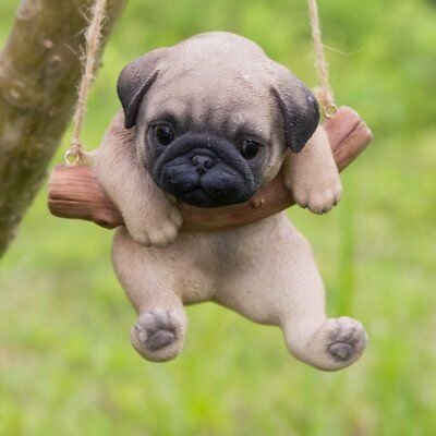 Hanging Brown Pug Puppy Dog Life Like Figurine Statue Home Garden New 25 99 Picclick