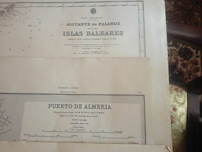 16 Vintage Nautical Charts, Spain from 1800's updated in 1940's & 50's