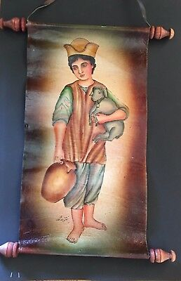 Unique Vtg Persian Arab Painting Boy with Jug & Lamb Leather Scroll Signed Rare