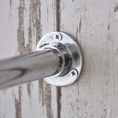 CHROME WARDROBE RAIL END SOCKET FITTINGS pair of round supports brackets 25mm