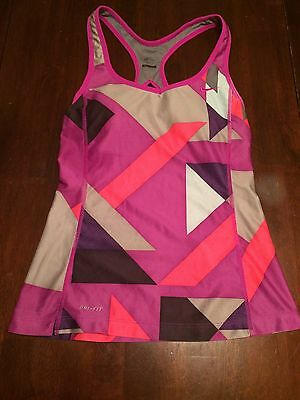 Nike Dri Fit Womens Built In Sports Bra Tank Top Racerback Purple Small
