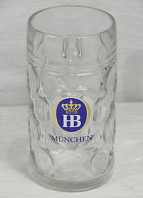 Big 1 L liter HOFBRAUHAUS Glass STEIN Munchen Munich, dimpled heavy glass MINT!