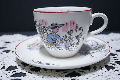LOT of 5 French themed Crown Ducal Petit Pierre Cup & Saucer SETS, Kitsch 50's