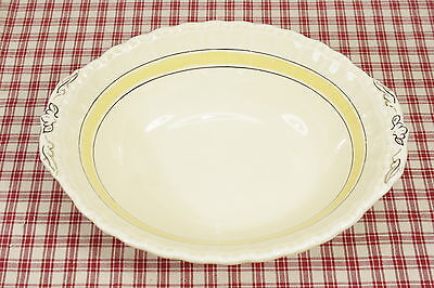 "Grindley Oval Open Vegetable Bowl, Yellow Band, Blue Lines. Exc. 10"" by 8"""