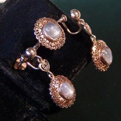 VICTORIAN GRAY STAR SAPPHIRE + 10K ROSE GOLD EARRING and RING SET - ORIGINAL BOX
