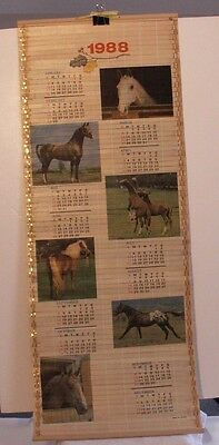 Vintage 1988 & 1989 Bamboo Calendar depicting horses