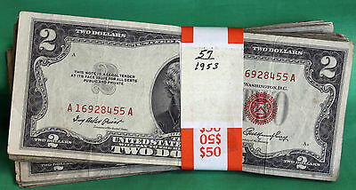 1953 Series Lot of 57 Average Circulated $2 Bills Currency Paper Money US