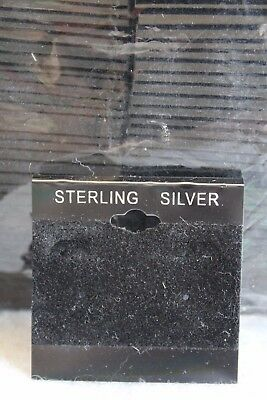 """Black Flocked Sterling Silver Earring Card Hang 2"""" x 2"""" Jewelry 100 Pieces NEW"""