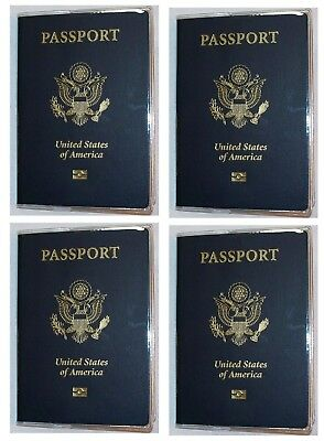USA Quality Fast Ship 4x Passport Clear Vinyl Cover Protector Holder
