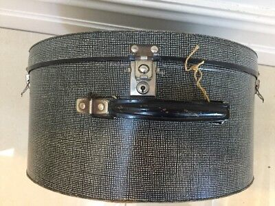 Vintage Hat Box/suitcase - Tweed Pattern With Chrome Fittings And Deco Interior