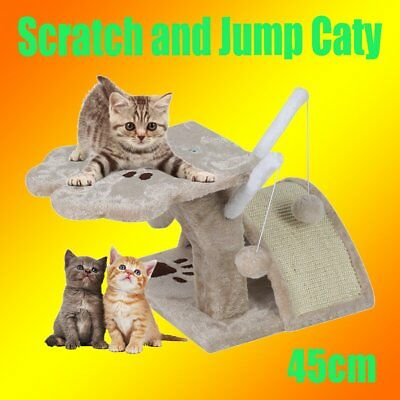 Cat Scratching Post Tree Gym House Scratcher Pole Furniture Bed Toy 45cm AU AB