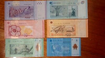 2012 Complete set of Malaysia Banknotes. (AA prefix except 2007 50 ringgit)