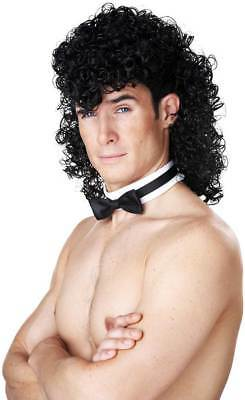 Curly Mullet Styled Black Hair Wig Halloween Costume Accessory Adult Men 70771