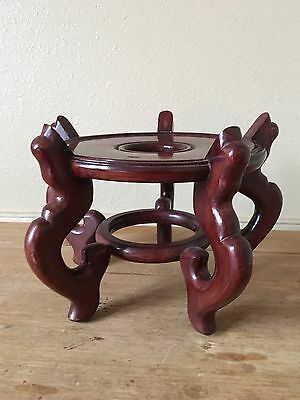 Vintage Brown Hand Carved Lacquered Oriental Solid Wood Footed Vase Stand Base