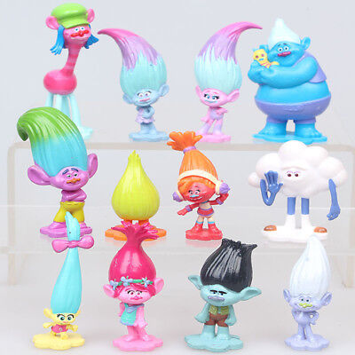 Movie Trolls Poppy Branch Action Figures Cake Toppers Doll Toy Gifts 12 Pcs/set
