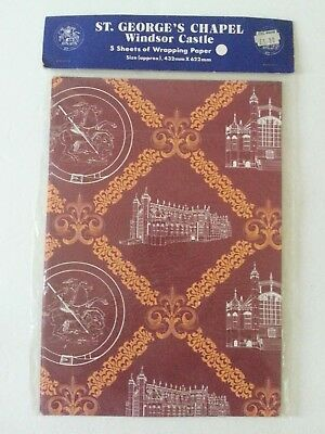 Unused Vtg St. George's Chapel Windsor Castle Wrapping Paper English Burgundy