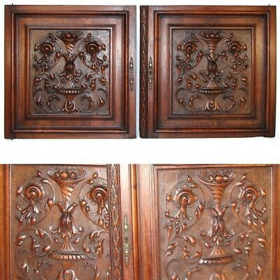 "PAIR Antique Victorian 25x25"" Carved Wood Architectural Furniture Door Panels"