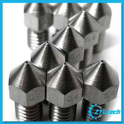 Zyltech 3x Stainless Steel 3D Printer MK8-Style Nozzle 1.75mm 0.4mm