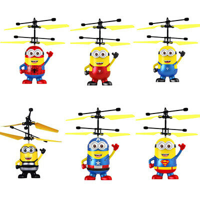 Despicable Me Infrared Induction Aircraft Minion Spiderman Fly Ball LED Light RC