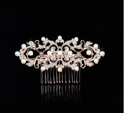 Wedding Bridal Vintage Rose Gold Pearl Hair Comb Headpiece Swarovski Elements