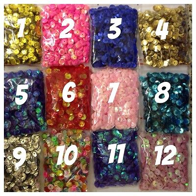 15g LOOSE SEQUINS 6-7mm in Diameter, 12 Colour Variations. Metallic & AB Colours