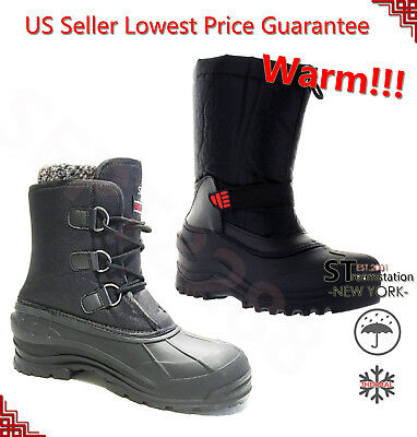 Black Winter Snow Boots Men Work Boots Men Warm Thermolite Waterproof 2006/2008
