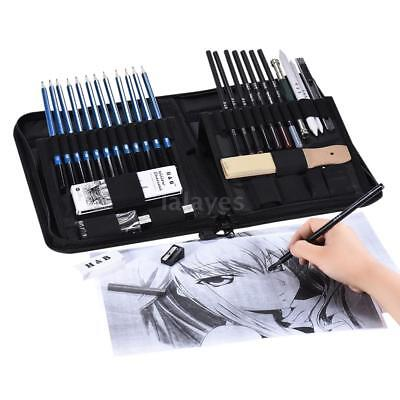 40Pcs Professional Drawing Artist Kit Set Pencils&Sketch Charcoal Art Tools J8C6